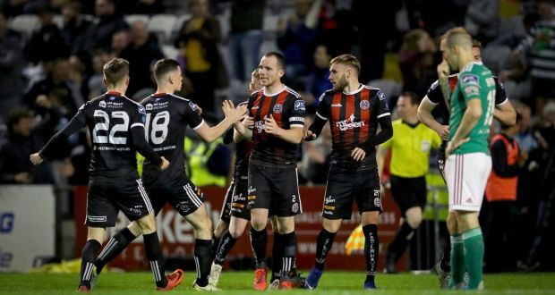 Bohemians' Derek Pender celebrates scoring his side's first goal during their Airtricity League clash with Cork City. Photo: Oisin Keniry/Inpho