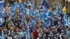Scottish independence supporters march through Edinburgh during an All Under One Banner demonstration on October 5th. Photograph: Andrew Milligan/PA Wire