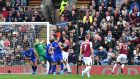 Burnley's Jeff Hendrick  scores the winning goal against Everton at Turf Moor. Photograph: Anthony Devlin/PA Wire.