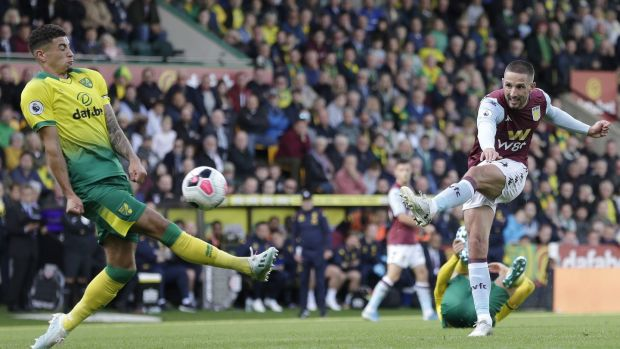 Conor Hourihane of Aston Villa scores his side's fourth goal. Photograph: Henry Browne/Getty Images