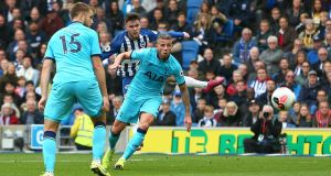 Aaron Connolly scores his team second and Brighton's third goal against Tottenham. Photograph: Charlie Crowhurst/Getty Images