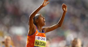 Sifan Hassan of Netherlands celebrates wining gold in the Women's 1,500 metres. Photograph:  Richard Heathcote/Getty Images