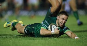 Connacht's Caolin Blade scores the bonus point try. Photograph: James Crombie/Inpho