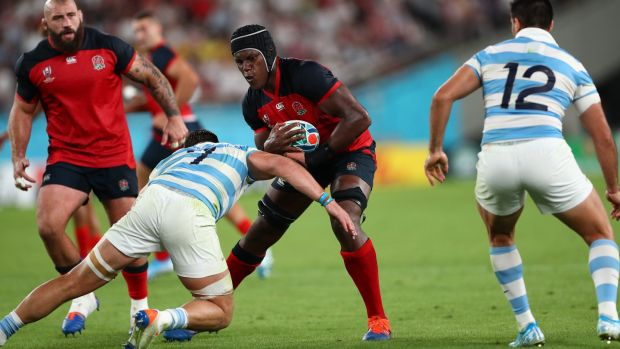 Maro Itoje carries during England's win over Argentina on Saturday. Photograph: Stu Forster/Getty