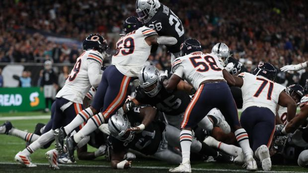 Josh Jacobs of Oakland Raiders scores the winning touchdown against the Chicago Bears. Photograph: Christopher Lee/Getty