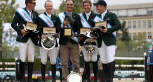 Ireland clinched both the 2019 title and the single qualifying spot on offer for the Tokyo 2020 Olympic Games at the Longines FEI Jumping Nations Cup Final in Barcelona. (From left to right - Paul O'Shea, Peter Moloney, Chef d'Equipe Rodrigo Pessoa, Darragh Kenny and Cian O'Connor). Photograph: Linnea Rheborg/FEI/Getty