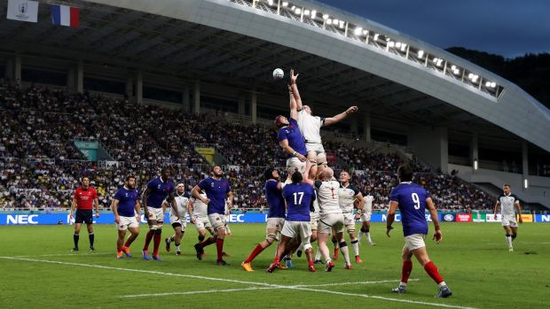 The USA's Cam Dolan and France's Bernard Le Roux compete for a lineout at the Fukuoka Hakatanomori Stadium. Photograph: Mike Hewitt/Getty