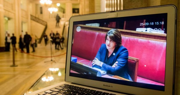 A laptop in  Stormont's parliament buildings in Belfast showing a live feed of the DUP leader Arlene Foster giving evidence to the RHI inquiry. Photograph:  Liam McBurney/PA Wire