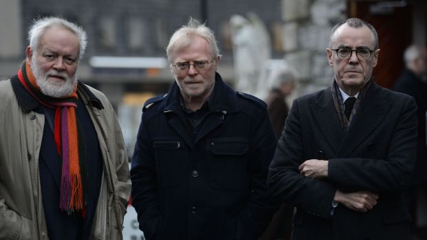 Ciaran Carson, right, with Michael Longley and Frank Ormsby at the funeral of poet Dennis O'Driscoll. Photograph: Cyril Byrne