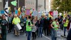Extinction Rebellion launches 'Rebellion Week' with in Dublin city centre on Monday. Photograph: Nick Bradshaw: The Irish Times