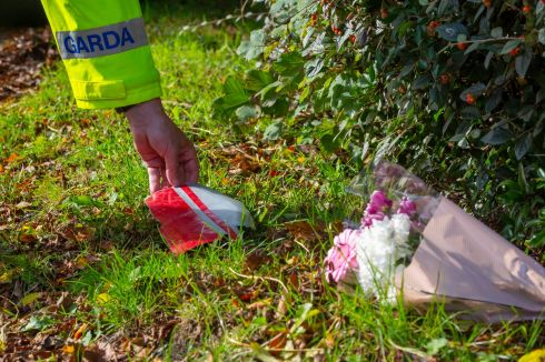 FATAL AIR CRASH: A garda retrieves a piece of debris after a light aircraft crashed near Duncormick, Co Wexford, causing the deaths of two men. Flowers lie nearby. Photograph: Patrick Browne