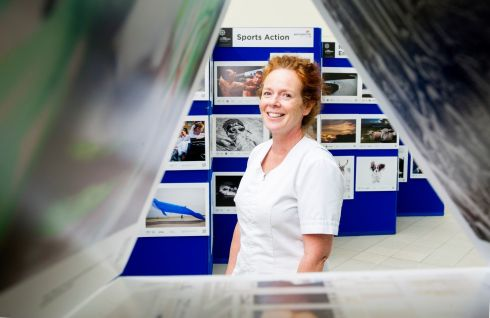 PHOTOGRAPHER OF THE YEAR SHOW: Deirdre Fitzpatrick, staff nurse at Cork University Hospital's Regional Cancer Centre, ahead of the opening of the Press Photographer of the Year 2019 exhibition at the Atrium of the hospital in Cork city on Tuesday, October 8th. Photograph: Daragh Mc Sweeney/Provision
