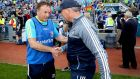 Longford manager Denis Connerton with Dublin boss  Jim Gavin  after the Leinster semi-final defeat at Croke Park in 2018.  Photograph: Ryan Byrne/Inpho