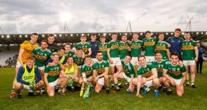 Kerry celebrate their 2019 Munster SFC final win over Cork. Photograph: James Crombie/Inpho