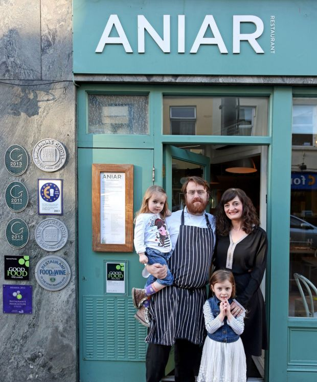 Owners JP McMahon and Drigín Gaffey with their daughters at Aniar Restaurant, Galway. Photograph: Joe O'Shaughnessy