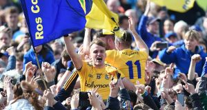 Enda Smith celebrates after Roscommon beat Galway to win the 2019 Connacht SFC title. Photograph: Tommy Grealy/Inpho