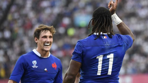 France's Alivereti Raka celebrates scoring his try against Tonga. Photograph: Christophe Simon/AFP/Getty