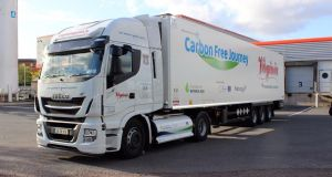 Virginia International Logistics has used a truck powered by renewable gas to transport  processed beef from  Ballyjamesduff, Co Cavan, to Caen in northern France, a return trip of 1,121km