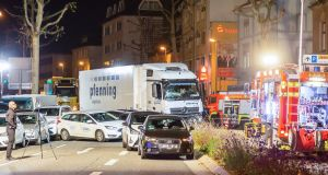 A view of the scene after a suspected truck attack in Limburg, Germany. Photograph: Maximilian  See/EPA