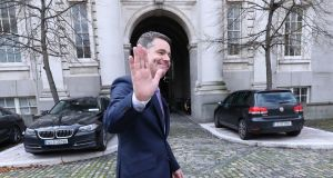 Minister for Finance  Pascal Donohoe at Government Buildings in Dublin on budget day. Photograph: PA