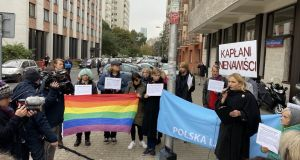 A protest outside the Polish Bishop's Conference on Tuesday in Warsaw at church-state agitation against the LGBT community ahead of Sunday's general election. Photograph: Derek Scally