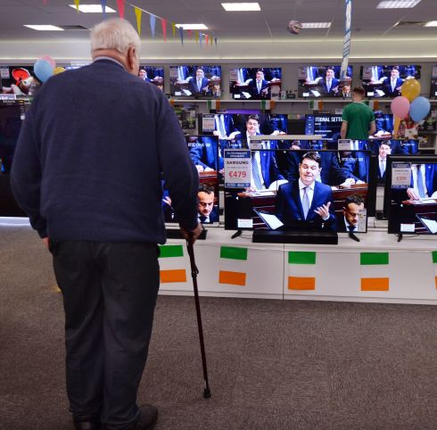 The Budget 2020 speech by Minister for Finance  Paschal Donohoe on display across multiple televisions at Harvey Norman in Airside Retail Park. Photograph: Alan Betson/The Irish Times