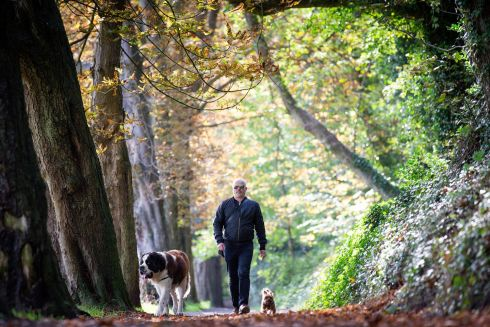 Andrew Murphy in St Anne's Park ,Clontarf, with his dogs Ralph and Coco.  Photograph: Tom Honan/The Irish Times.