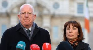 Minister for Justice Charlie Flanagan and Minister for Culture, Heritage and the Gaeltacht Josepha Madigan speaking earlier this year ahead of the referendum to amend the constitutional provisions on divorce. Photograph: Dara Mac Dónaill