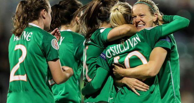 Ireland's Denise O'Sullivan celebrates her team's third goal. Photograph: Laszlo Geczo/Inpho