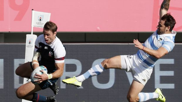 Blaine Scully scores a try for the USA. Photo: Kimimasa Mayama/Getty Images