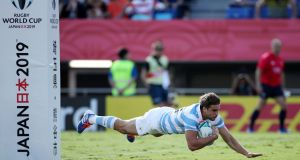 Juan Cruz Mallia of Argentina scores his side's fourth try during the Rugby World Cup 2019 Group C win over USA. Photo: Cameron Spencer/Getty Images
