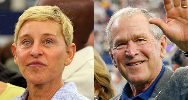 Ellen DeGeneres and George W Bush at the Dallas Cowboys game on Sunday. Photographs: Richard Rodriguez/Getty and Andrew Dieb/Icon Sportswire via Getty