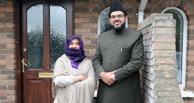 Ayesha Hashim Mirza and Rabeeb Mirza outside their missionary, in Lucan, Co Dublin. Photograph: Aidan Crawley