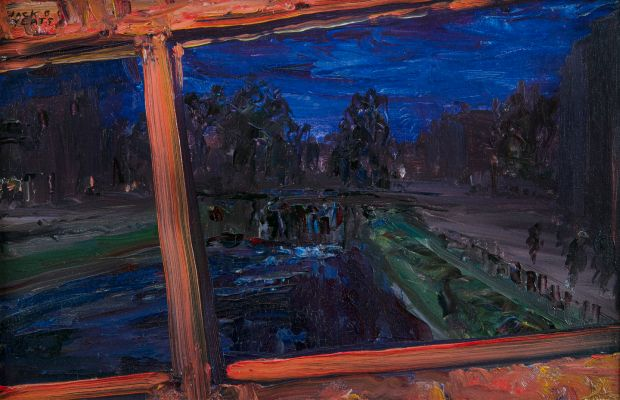 Crossing the Canal Bridge, from the Tram Top, Jack B Yeats. €60,000- €80,000 Adam's