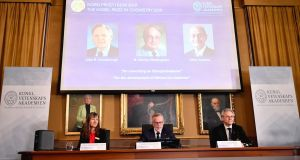 Goran K Hansson (C), Secretary General of the Royal Swedish Academy of Sciences, and academy members Sara Snogerup Linse (L) and Olof Ramstrom, announce the winners of the 2019 Nobel Prize in Chemistry during a news conference at the Royal Swedish Academy of Sciences in Stockholm. Photogtaph: Naina Helen Jama/EPA