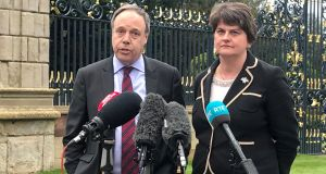 DUP Deputy leader Nigel Dodds and leader Arlene Foster. Photograph: Rebecca Black/PA Wire