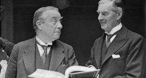 'Between the wars, the Conservatives emerged as the one party of capital, led by great British manufacturers such as Stanley Baldwin and Neville Chamberlain (right).'  Photograph: Fox Photos/Hulton Archive/Getty Images