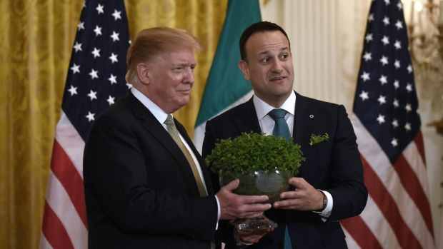 The Taoiseach, Leo Varadkar, presents the traditional St Patrick's Day bowl of shamrock to US president Donald Trump at the White House on March 14th. Photograph: Olivier Douliery/Getty Images