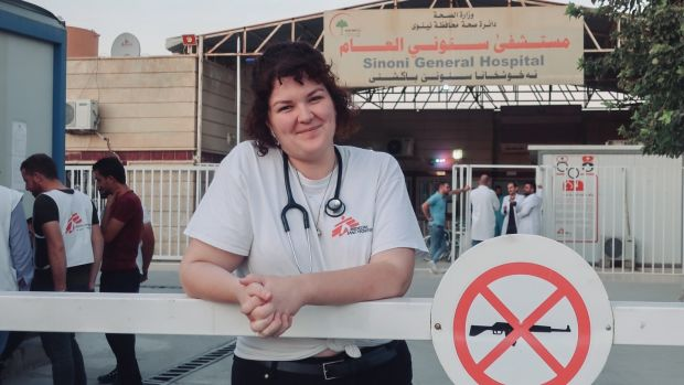 "Dr Kate Goulding outside Sinuni General Hospital in northwestern Iraq: ""This community has been the warmest and most welcoming group of people I have ever had the pleasure of knowing."""
