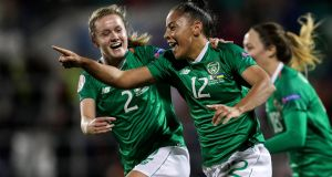 Ireland's Rianna Jarrett celebrates scoring her side's second goal during the Uefa Women's European Championship qualifier against the Ukraine at  Tallaght Stadium. Photograph: Laszlo Geczo/Inpho