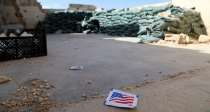 The Tal Arqam base in Ras al-Ein, northern Syria, lies deserted  after the withdrawal of US forces. Photograph: EPA