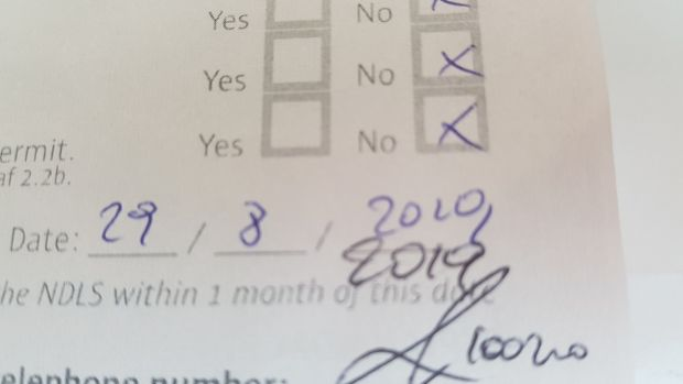Part of the form filled out by Niall's doctor