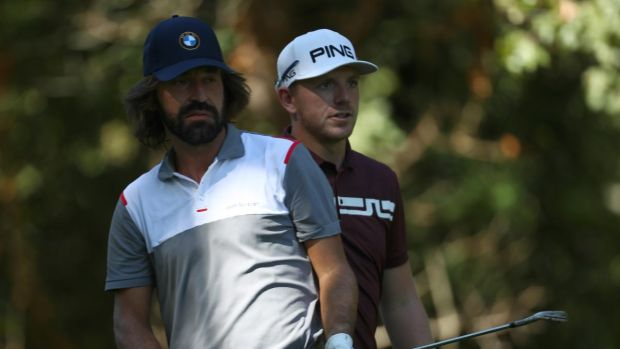 England's Matt Wallace pictured with ex-Italian footballer Andrea Pirlo during a the pro-am at the Italian Open. Photograph: Matthew Lewis/Getty Images