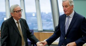 European Commission president Jean-Claude Juncker and EU chief Brexit negotiator Michel Barnier: there is little expectation in Brussels that a breakthrough is possible to enable EU leaders to approve a deal. Photograph: Stephanie Lecocq