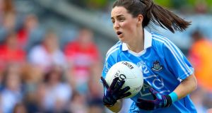 Dublin's Lyndsey Davey in action against Cork in the Ladies Senior Football final. Photograph: Oisín Keniry/Inpho