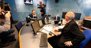 Minister for Finance Pascal Donohoe with RTÉ Radio 1's Sean O'Rourke: Budget 2020 delivers increases in the number of subsidised childcare hours available to most families. Photograph: Kinlan Photography