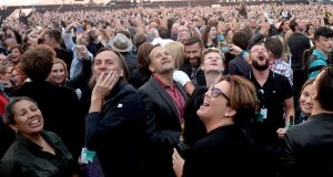 Leo Varadkar at U2's Croke Park concert in 2017: artists and performers still haven't found what they're looking for from the Government. Photograph: Eric Luke