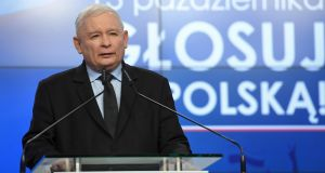 In the eyes of the wily PiS leader Jaroslaw Kaczynski, securing enough seats for a second term would be his party's just reward for a job well done. Photograph: Piotr Nowak/EPA