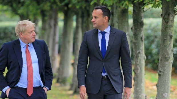 British prime minister Boris Johnson with Taoiseach Leo Varadkar at Thornton Manor Hotel, on The Wirral, Cheshire, ahead of private talks on Thursday. Photograph: PA Wire/Government Press Office handout