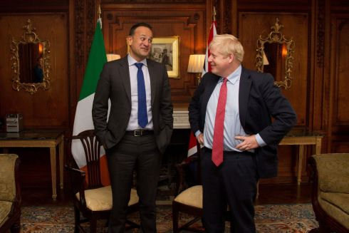 THE BEST OF FRIENDS: Taoiseach Leo Varadkar and Britain's prime minister Boris Johnson met at Thornton Manor Hotel, near Birkenhead, in England on Thursday. They issued a joint-statement after their meeting saying they could see a 'pathway' to a possible Brexit deal. Photograph: Noel Mullen/AFP via Getty Images